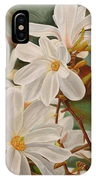 IPhone Case featuring the painting Magnolias by Angeles M Pomata