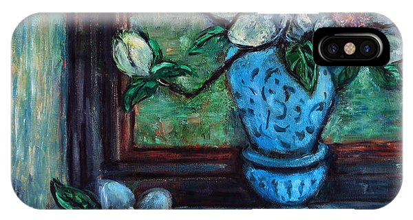 Magnolias In A Blue Vase By The Window IPhone Case