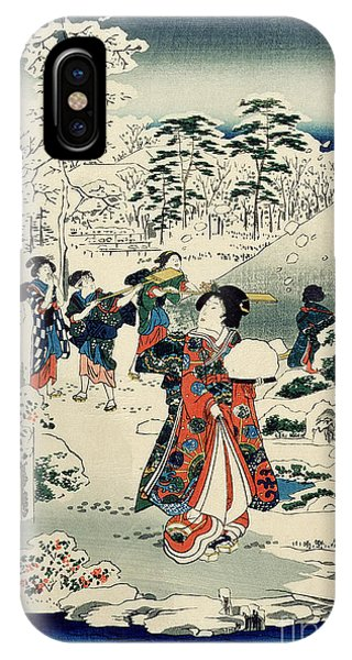 Wintry iPhone Case - Maids In A Snow Covered Garden by Hiroshige