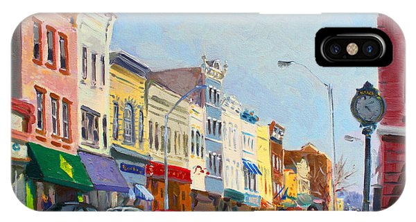 Clock iPhone Case - Main Street Nayck  Ny  by Ylli Haruni