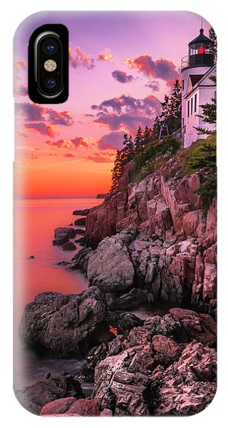 Maine Bass Harbor Lighthouse Sunset IPhone Case