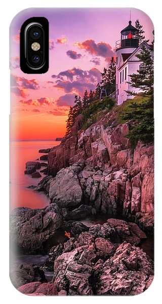 Maine Bass Harbor Lighthouse Sunset IPhone Case
