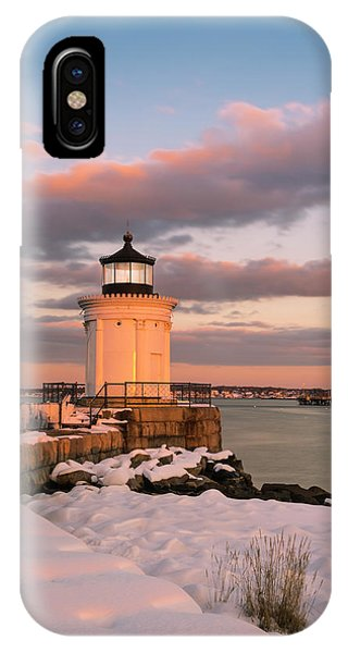 IPhone Case featuring the photograph Maine Bug Light Lighthouse Snow At Sunset by Ranjay Mitra