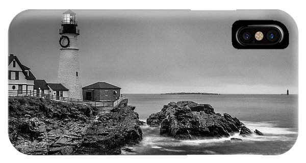 Maine Cape Elizabeth Lighthouse Aka Portland Headlight In Bw IPhone Case