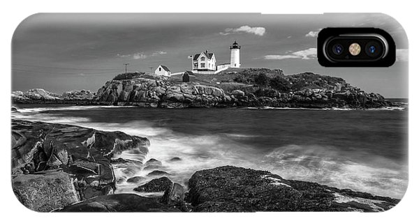 Maine Cape Neddick Lighthouse In Bw IPhone Case