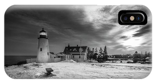 Maine Coastal Storm Over Pemaquid Lighthouse IPhone Case