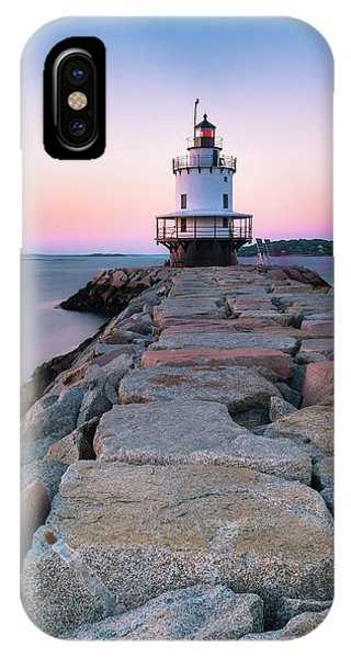 Maine Coastal Sunset Over The Spring Breakwater Lighthouse IPhone Case
