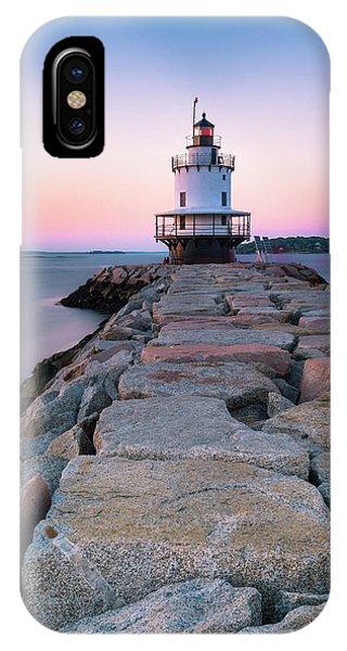 Maine Coastal Sunset Over The Spring Breakwater Lighthouse IPhone Case