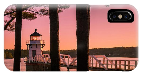 IPhone Case featuring the photograph Maine Doubling Point Lighthouse At Sunset Panorama by Ranjay Mitra