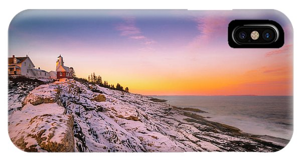 Maine Pemaquid Lighthouse In Winter Snow IPhone Case