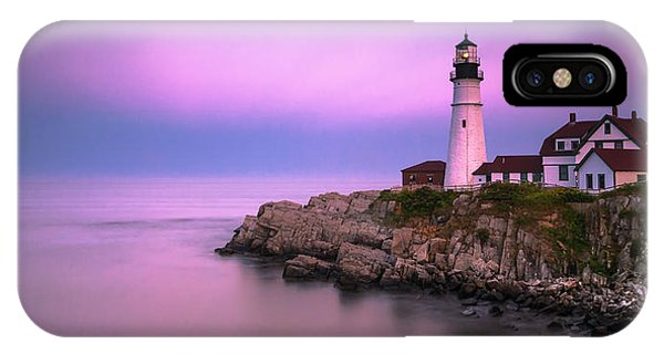 IPhone Case featuring the photograph Maine Portland Headlight Blue Hour Panorama by Ranjay Mitra
