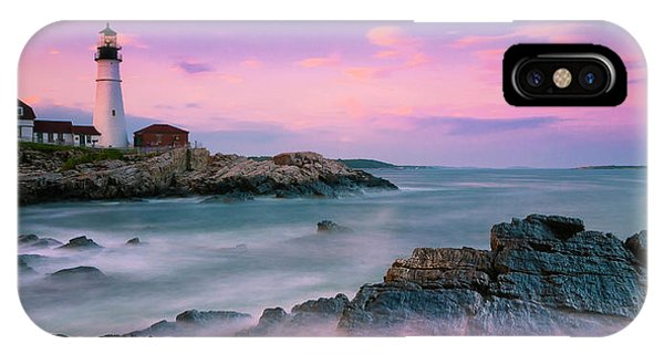 Maine Portland Headlight Lighthouse At Sunset Panorama IPhone Case