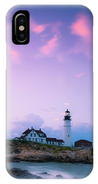 IPhone Case featuring the photograph Maine Portland Headlight Lighthouse In Blue Hour by Ranjay Mitra