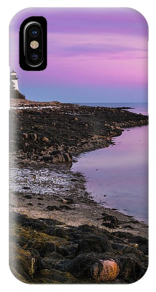 Maine Prospect Harbor Lighthouse Sunset In Winter IPhone Case