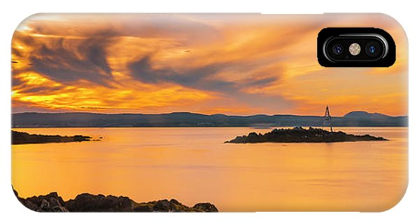 Maine Rocky Coastal Sunset In Penobscot Bay Panorama IPhone Case