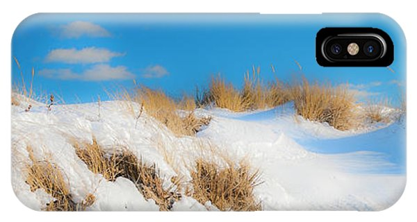 IPhone Case featuring the photograph Maine Snow Dunes On Coast In Winter Panorama by Ranjay Mitra