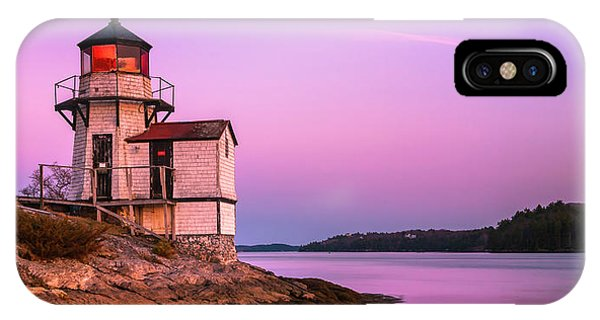 Maine Squirrel Point Lighthouse On Kennebec River Sunset Panorama IPhone Case