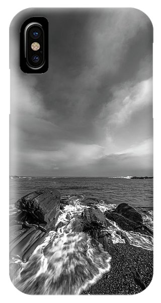 Maine Storm Clouds And Crashing Waves On Rocky Coast IPhone Case