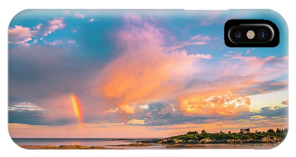 Maine Sunset - Rainbow Over Lands End Coast IPhone Case