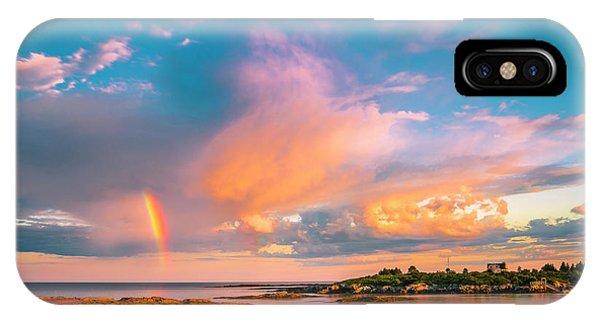 Maine Sunset - Rainbow Over Lands End Coast IPhone Case