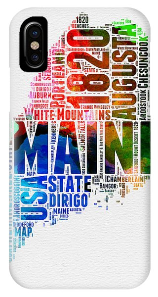 Maine Watercolor Word Cloud  IPhone Case