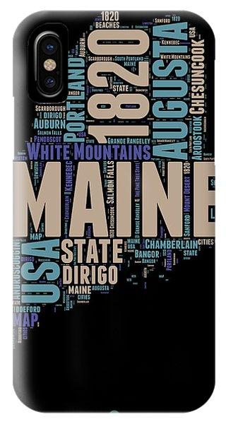 Typography iPhone Case - Maine Word Cloud 1 by Naxart Studio