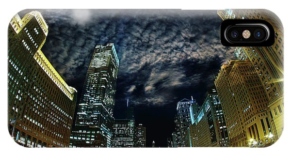 Chicago River iPhone Case - Majestic Chicago - Windy City Riverfront At Night by Bruno Passigatti