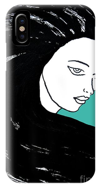 Majestic Lady J0715k Turquoise Green Pastel Painting 15-5519 41b6ab IPhone Case