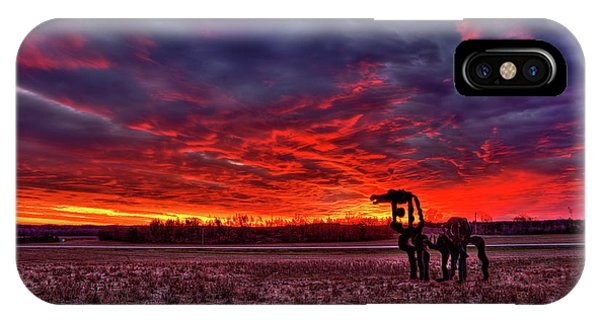 Majestic Red Clouds Winter Sunset The Iron Horse Art IPhone Case