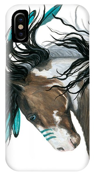 American Indian iPhone Case - Majestic Turquoise Horse by AmyLyn Bihrle