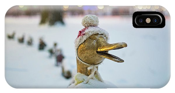 Make Way For Ducklings Winter Hats Boston Public Garden Christmas IPhone Case