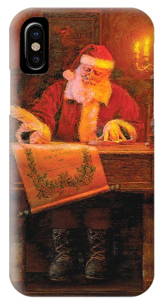 Santa Claus iPhone Case - Making A List by Greg Olsen