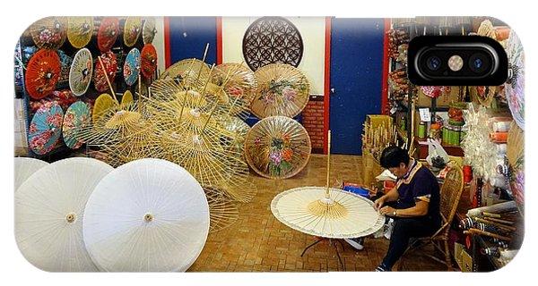 Making Chinese Paper Umbrellas IPhone Case