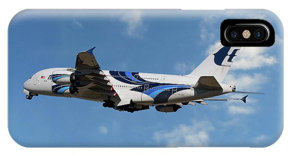 Airline iPhone Case - Malaysia Airlines Airbus A380-841 by Smart Aviation