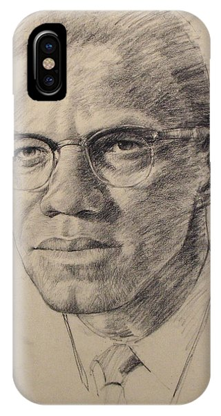 IPhone Case featuring the drawing Malcolm X by Cliff Spohn