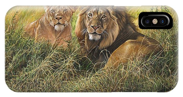 IPhone Case featuring the painting Male And Female Lion by Alan M Hunt