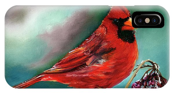 Male Cardinal And Snowy Cherries IPhone Case