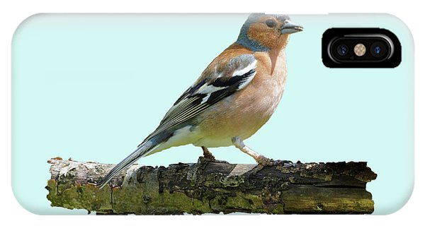 IPhone Case featuring the photograph Male Chaffinch, Blue Background by Paul Gulliver