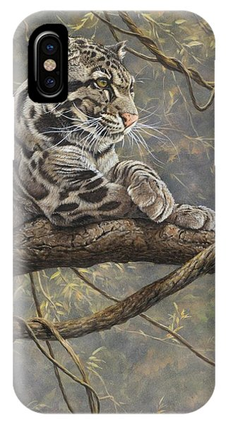 IPhone Case featuring the painting Male Clouded Leopard by Alan M Hunt
