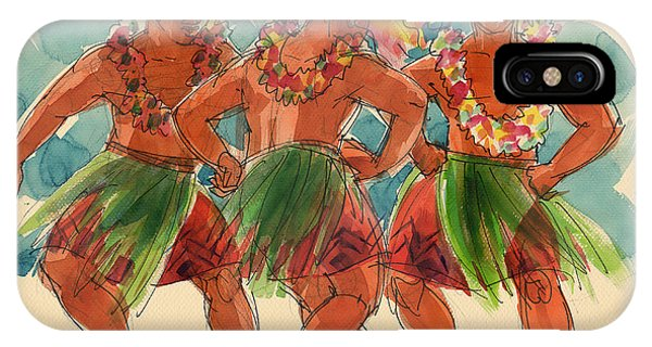 IPhone Case featuring the painting Male Dancers Of Lifuka, Tonga by Judith Kunzle
