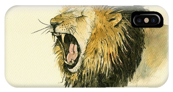 African Lion Art iPhone Case - Male Lion Head Painting by Juan  Bosco