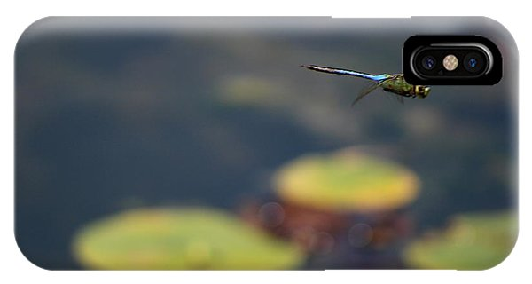 Malibu Blue Dragonfly Flying Over Lotus Pond IPhone Case