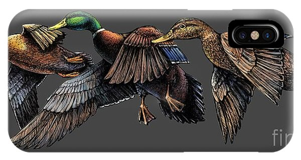 Mallard Ducks In Flight IPhone Case