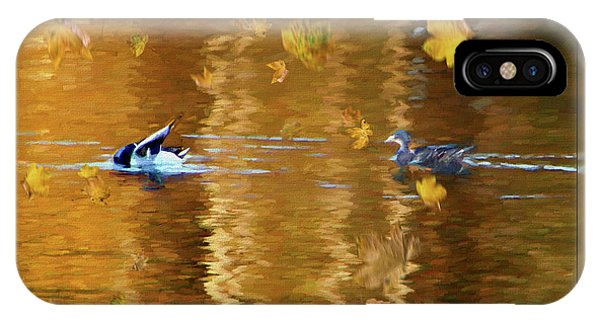 Mallard Ducks On Magnolia Pond - Painted IPhone Case