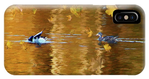 Mallard Ducks On Magnolia Pond - Painted IPhone Case