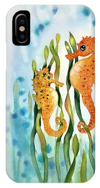 Mamma And Baby Seahorses IPhone Case