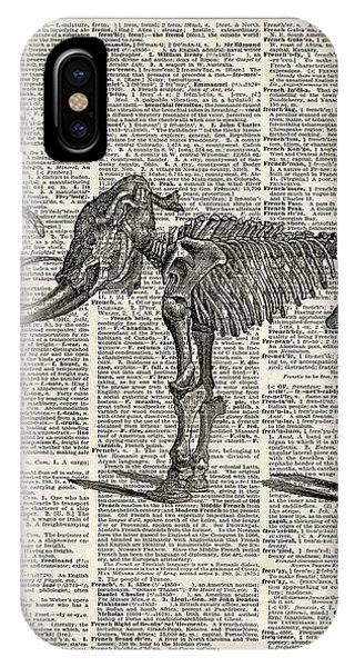 Bone iPhone Case - Mammoth Elephant Bones Over A Antique Dictionary Book Page by Anna W