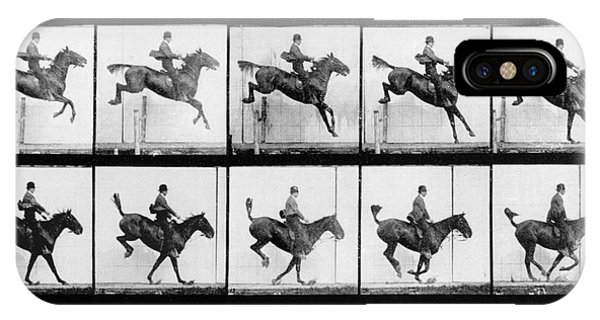 White Horse iPhone Case - Man And Horse Jumping by Eadweard Muybridge