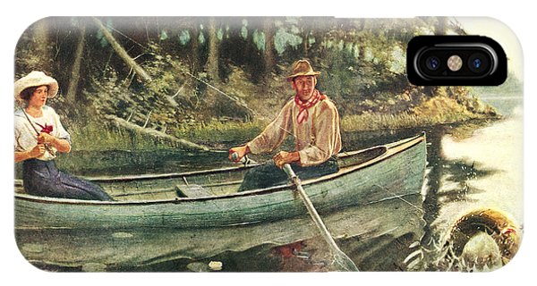 River iPhone Case - Man And Woman Fishing by JQ Licensing