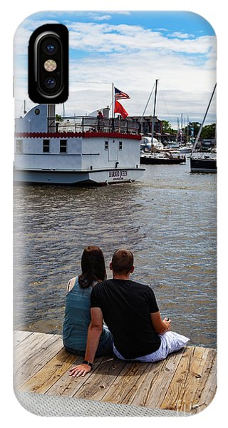 Man And Woman Sitting On Dock IPhone Case